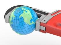 La terre et clé rouge Image stock