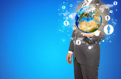 La terre et contacts de prise d'homme d'affaires photo stock