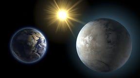 La terre et Kepler 452 b, planète de soeur, comparaison illustration libre de droits