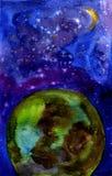 La terre et l'espace d'aquarelle Images stock