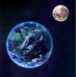 La terre et lune comme vu de l'espace illustration de vecteur
