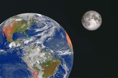 La terre et la lune dans l'espace image libre de droits