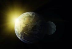 La terre et lune de planète Photographie stock libre de droits