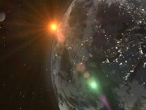 La terre et lune de planète illuminées par le soleil Vue de l'espace 3 illustration stock