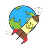 La terre et Rocket Vector Illustration Images stock