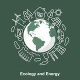La terre et sources d'énergie Développement de concept écologique électrique Photos libres de droits