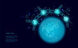 La terre globale de planète de cryptocurrency numérique de pièce de monnaie d'ondulation d'Ethereum Bitcoin Technologie minière d illustration de vecteur