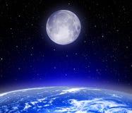 La terre, lune, étoiles images libres de droits