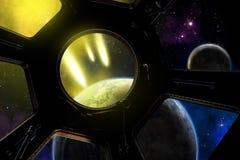La terre, lune, asteroïdes L'extrémité du monde illustration stock