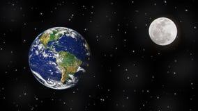 La terre, lune et étoiles dans l'espace extra-atmosphérique photos libres de droits