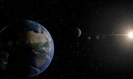 La terre, lune et soleil Images stock