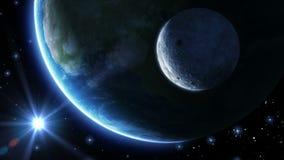 La terre, lune et soleil Lumière bleue HD 1080 illustration libre de droits