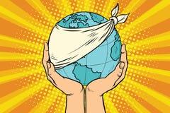 La terre malade, écologie et nature de planète Images libres de droits