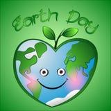 La terre mignonne de coeurs de bande dessinée avec des feuilles sur le fond vert Photos libres de droits