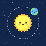 La terre mignonne et Sun de bande dessinée illustration stock