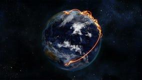 La terre nuageuse tournant avec les connexions oranges sur elle-même avec la courtoisie d'image de la terre de la NASA org illustration de vecteur