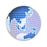 La terre, orientation sur l'Asie, sur le blanc Photos stock