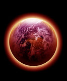 La terre rouge rougeoyante Images libres de droits