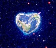 La terre sous forme de coeur, Photographie stock