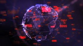 La terre tournante et chiffres volants - boucle de fond de technologie illustration libre de droits