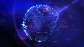 La terre tournante et chiffres volants - boucle de fond de technologie illustration de vecteur