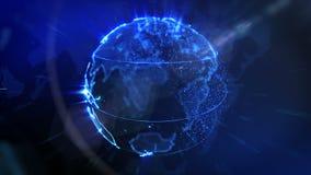 La terre tournante et chiffres volants - boucle de fond de technologie illustration stock