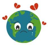 La terre triste pleurant avec casser l'illustration de concept de coeur Photographie stock libre de droits