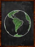 La terre verte sur le tableau noir Photos libres de droits