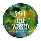 La terre verte tirée par la main de planète d'aquarelle Photos libres de droits