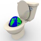 La terre vidante en bas de la toilette illustration stock