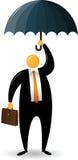 La testa arancione porta una cartella e un ombrello Immagine Stock
