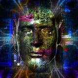 La testa del cyborg Fotografia Stock