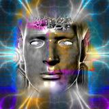La testa del cyborg Fotografie Stock Libere da Diritti
