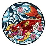 La carpa a specchi con il tatuaggio rosso del pavone e del for Carpa pesce rosso