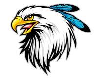 la testa dell'aquila calva con il blu mette le piume alla mascotte del fumetto può usare per il logo di sport Fotografia Stock Libera da Diritti