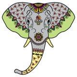 La testa dell'elefante di colore nello stile dell'indiano di Mehndi Immagini Stock Libere da Diritti