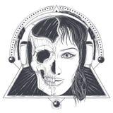 La testa della donna con il mezzo cranio del fronte ha inciso il vettore Immagine Stock
