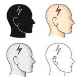 La testa della persona con diabete Emicrania dovuto diabete Singola icona del diabete nelle azione di simbolo di vettore di stile illustrazione vettoriale