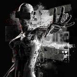 La testa di un cyborg su un fondo nero illustrazione 3D Fotografia Stock