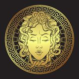 La testa dorata di Gorgon della medusa su una linea arte disegnata a mano dello schermo e su una progettazione della stampa del l royalty illustrazione gratis