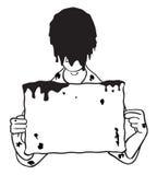 La testa dunked in fango con l'illustrazione in bianco del segno Fotografia Stock