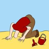 La testa ha attaccato nella sabbia Fotografie Stock