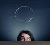 La testa sta pensando la persona. Fotografia Stock Libera da Diritti