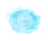La textura azul de la acuarela con el marco del círculo y agradece y Imagen de archivo libre de regalías