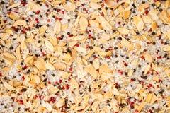 La textura de especias se mezcla y primer de la sal del mar, especia o condimento como fondo Pimienta negra, pimienta roja imagen de archivo libre de regalías