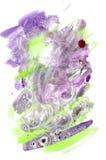 La textura de la acuarela que el verde púrpura salpica el fondo salpica stock de ilustración