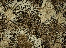 La textura de la tela de la impresión rayó el leopardo y la flor Imagen de archivo libre de regalías