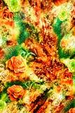 La textura de la tela de la impresión rayó el leopardo y la flor Imagenes de archivo