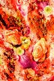 La textura de la tela de la impresión rayó el leopardo y la flor Fotografía de archivo libre de regalías