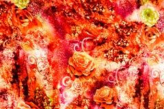 La textura de la tela de la impresión rayó el leopardo y la flor Fotos de archivo libres de regalías